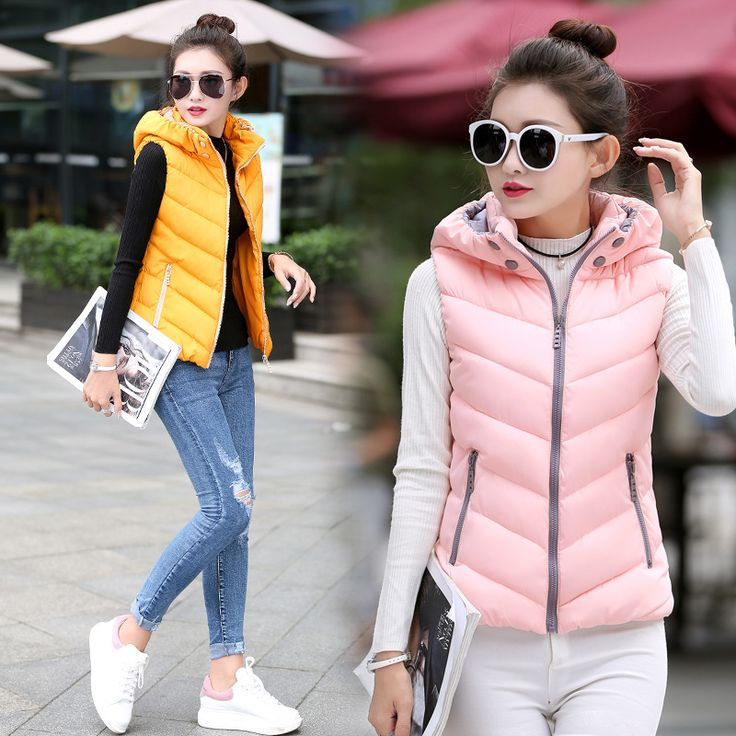 US $18.69 -- Autumn Fashion Women Vest Down Cotton Vest for Woman Casual Hooded Jacket Winter Warm Vest Sleeveless Coat Padded Outwear Female aliexpress.com