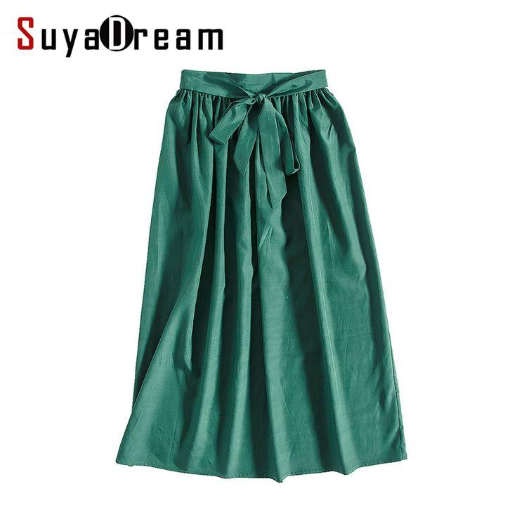 Женщины Шелк длинная юбка 40% Натурального Шелка 60% Хлопок Сплошной Зеленый Макси модные Юбки Эластичный Пояс 2017 Летний Новыйкупить в магазине Suya Dream(SD)наAliExpress