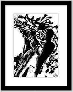 Sun Art Sales Blog: Framed print, Charcoal, illustration, jazz musicia...