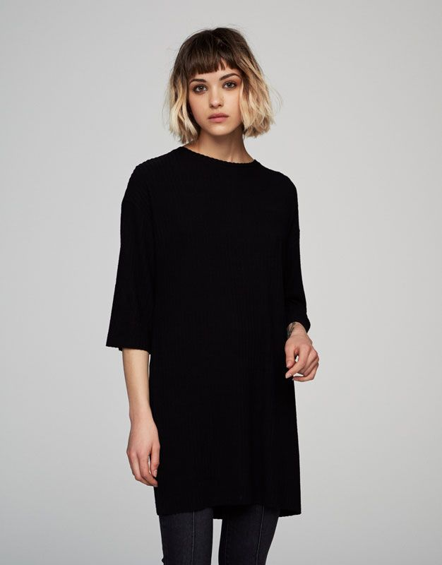 Pull&Bear - mujer - novedades - ver todo - vestido canalé manga corta - negro - 05394326-V2017