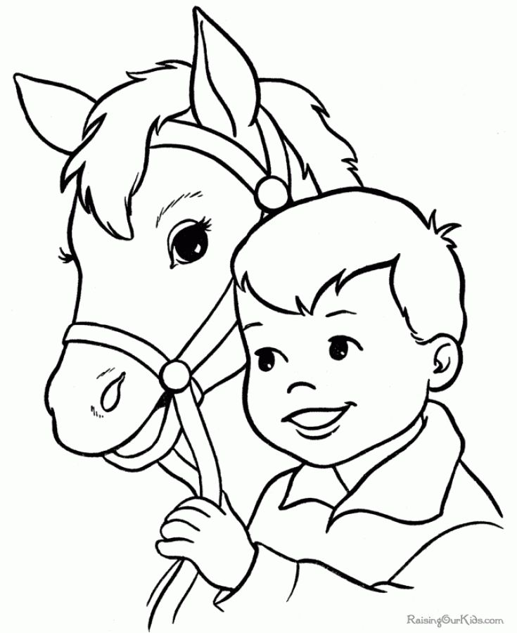 A Boy And Horse Coloring Pages Free To Print