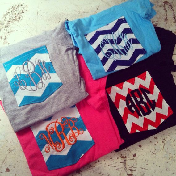 Personalized Monogrammed Chevron Pocket Tshirts by ElsBriarPatch