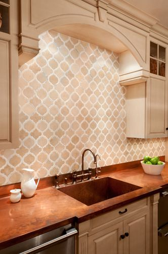 backsplash tile from artistic tile in jet cut marble