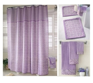 Shower curtain, bath mats, towels to match