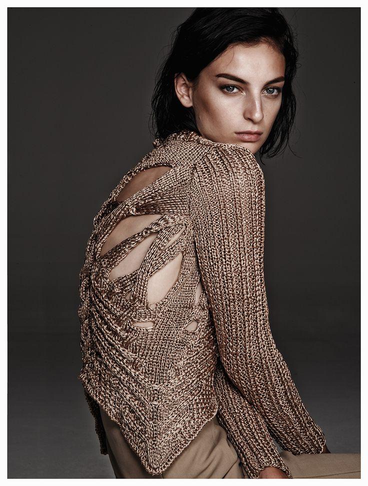 Metallic knit cardigan, elegant contemporary knitwear details // Nellie Partow Spring 2015