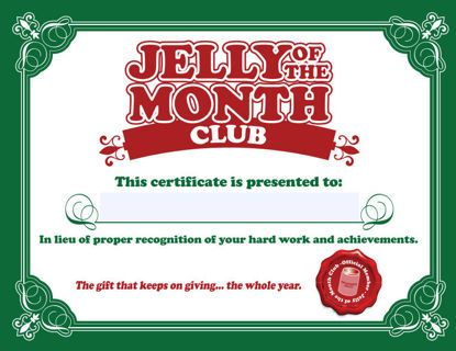 Christmas Vacation Jelly of the Month Club Certificate - Gag Gift