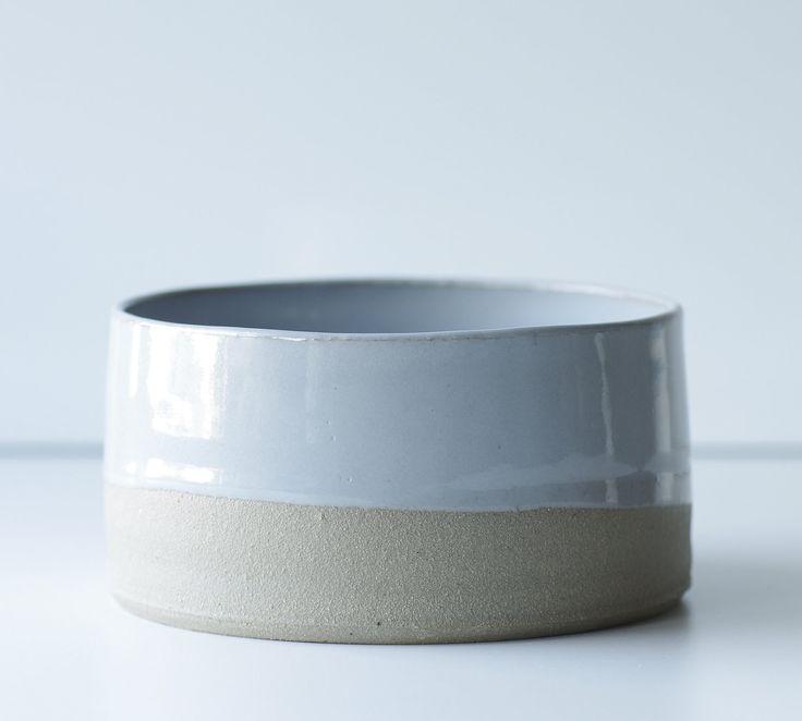 MTO modern pottery bowl Medium size sand stoneware grey glaze minimalist modern. $50.00, via Etsy.