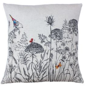 Linen & Cotton Cushion Meadow Landscape. Beautiful Meadow Landmarks handmade cushion has been inspired by nature and the countryside. The cushion is screen printed embroidery, which means the designers original embroidery is screen printed on to the cushion. Beautiful colour details are then added by free-hand machine embroidery. The Meadow Landmarks cushion is made from high quality linens and cotton and filled with luxury duck feather pad.