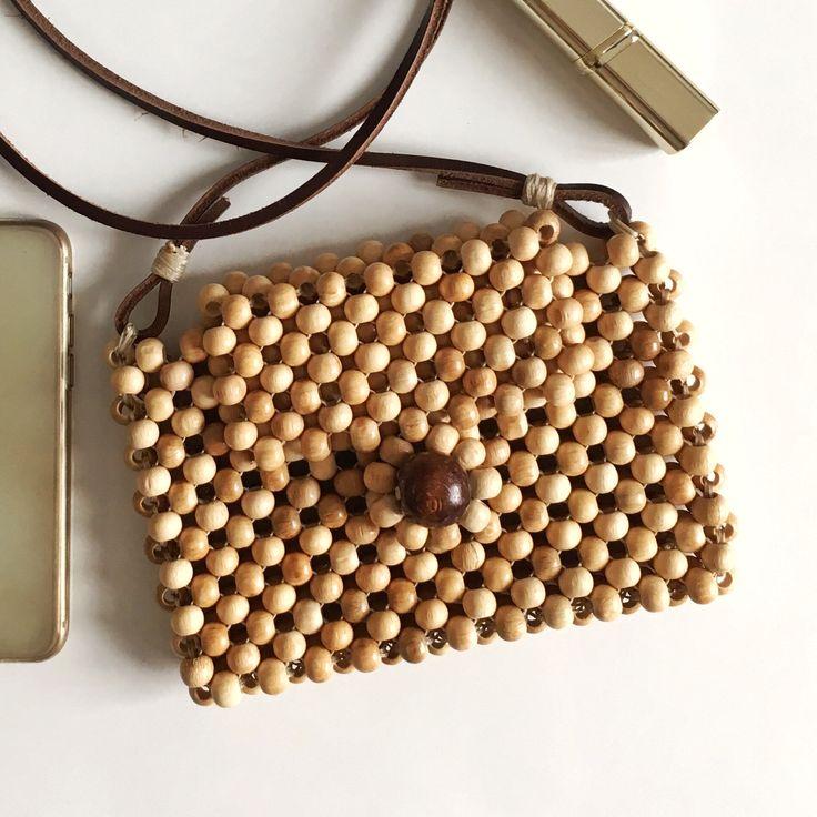 Wooden Beads Bag, Wood Beaded Purse, Beaded Clutch Bag, Mini Wooden Bag, Mini Tote Handbag, Boho Bag – Vicki Perry Rajewski