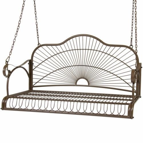 Hanging Porch Swing Iron Patio Bench Outdoor Furniture Rust Resistant Yard Seat  #OutdoorFurniture