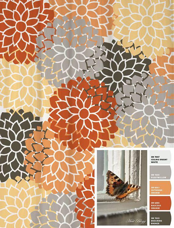 Best Bath Curtain Images On Pinterest Bathroom Ideas - Gray and orange shower curtain