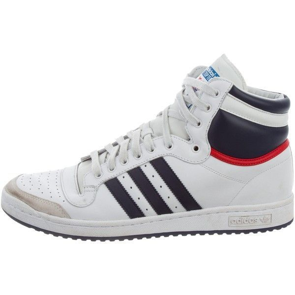 Pre-owned Adidas Leather High-Top Sneakers ($50) ❤ liked on Polyvore featuring men's fashion, men's shoes, men's sneakers, blue, mens hi tops, mens leather sneakers, adidas mens sneakers, mens round toe dress shoes and mens high tops #sneakersadidas