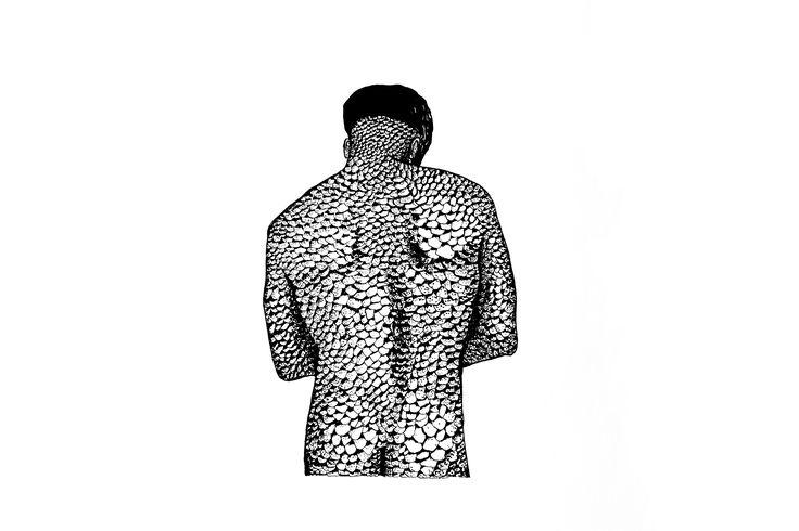 Un cuerpo medio hombre, medio bestia.