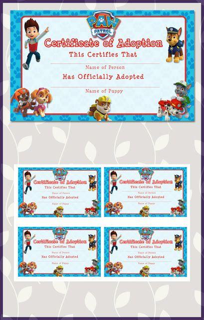 Free Paw Patrol Certificate of Adoption                                                                                                                                                     More