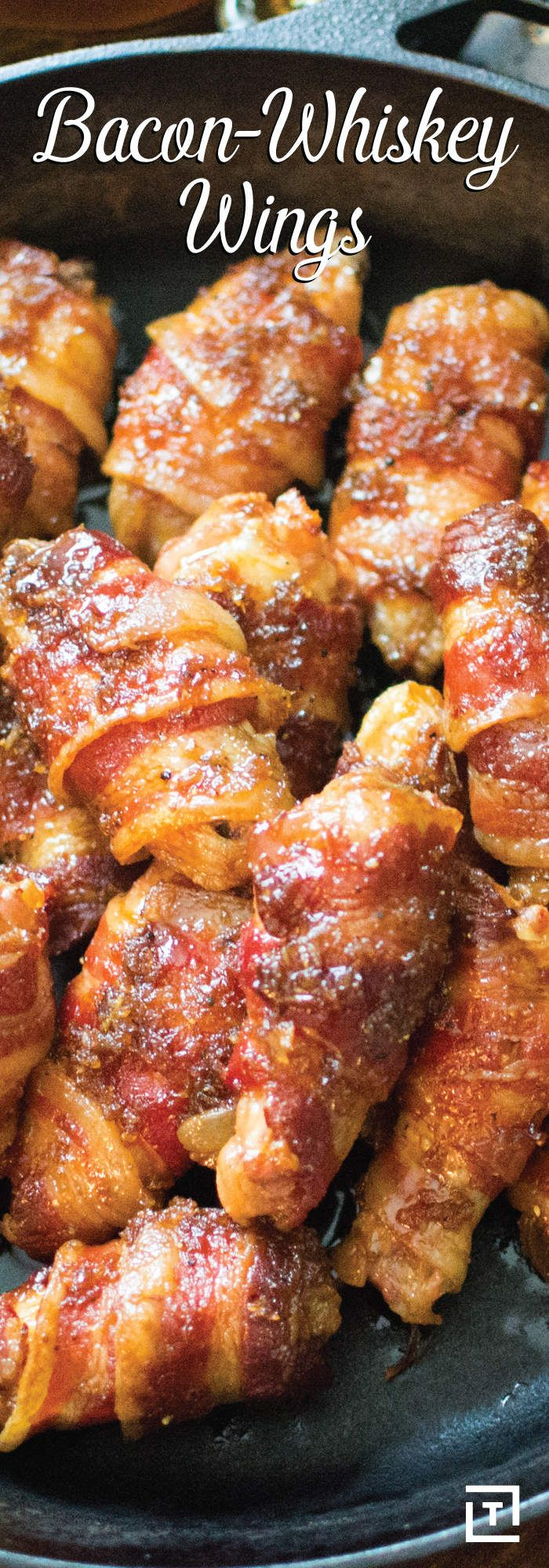 Bacon-Wrapped, Whiskey-Glazed Chicken WingsThrillist
