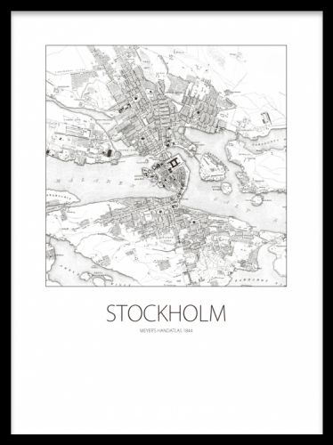 Poster med Stockholmskarta, gammalt svartvitt motiv.