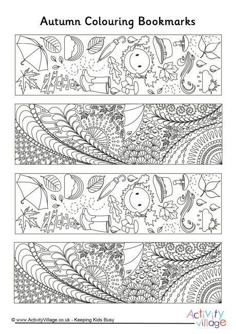 Autumn doodle colouring bookmarks