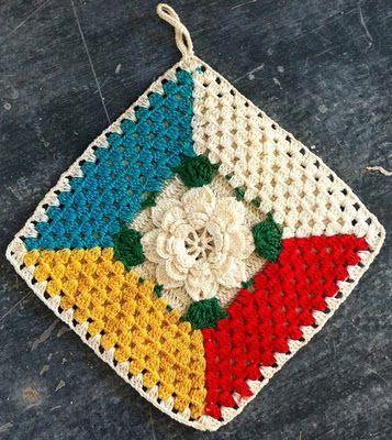 Best Free Crochet » Rose Granny Potholder – Free Crochet Pattern: