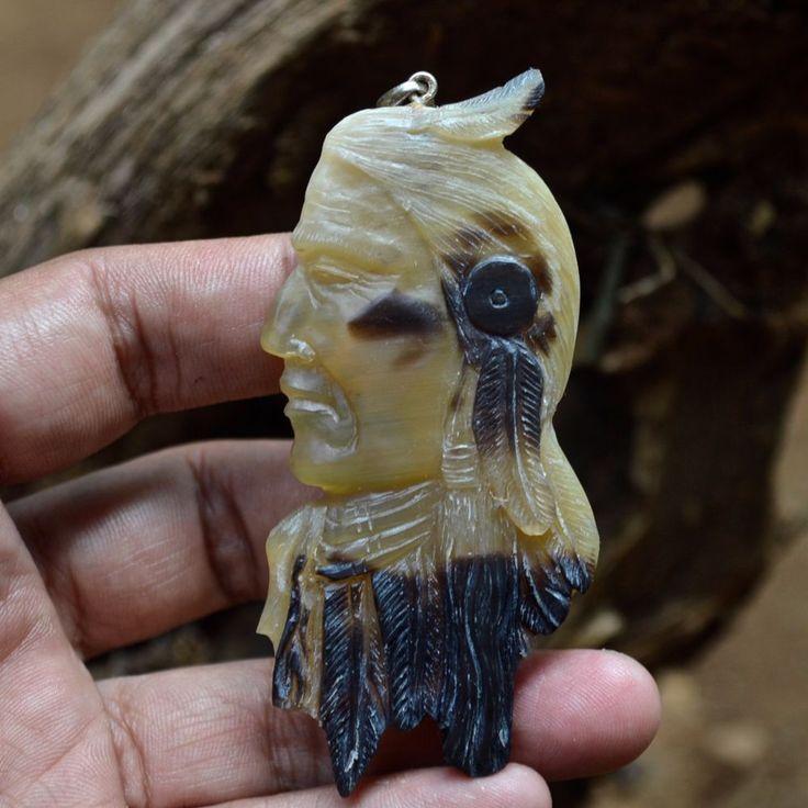 "Hand Carved Indian Spirit 3.3"" Buffalo Horn Carving Pendant 925 Silver BH3360 #Handmade #Pendant"