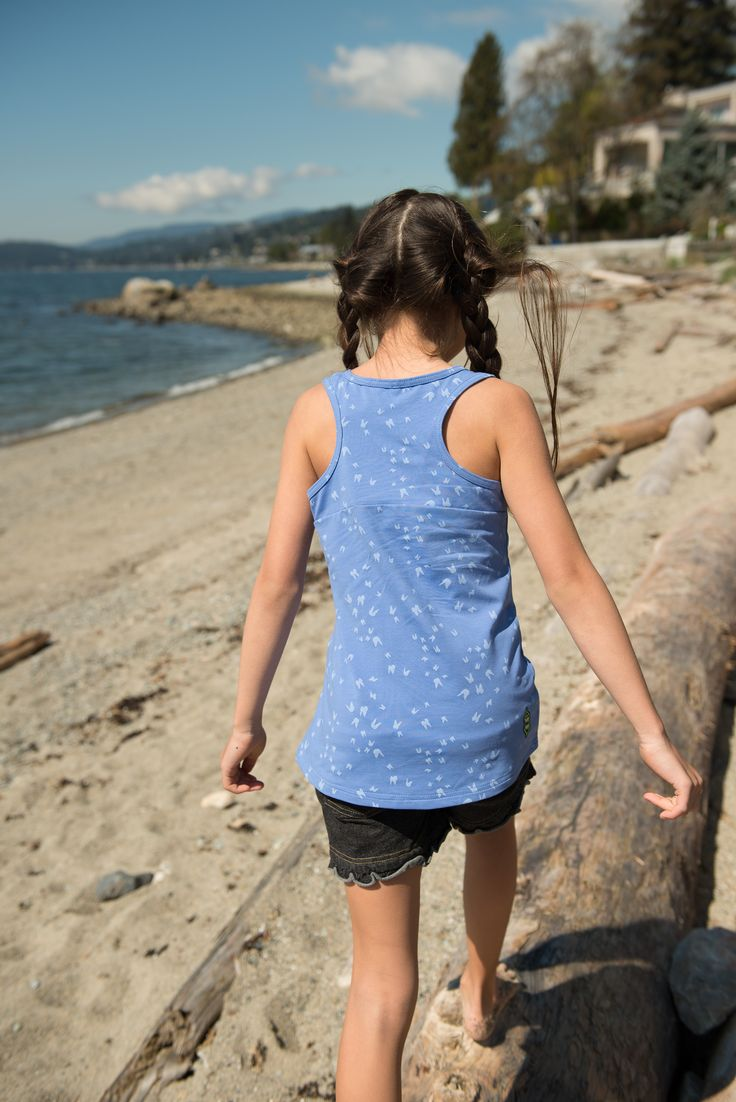 Back to the beach! Break out the blue Tides Out Tank for a sea vibe | Girls Summer Collection | www.peekaboobeans.com