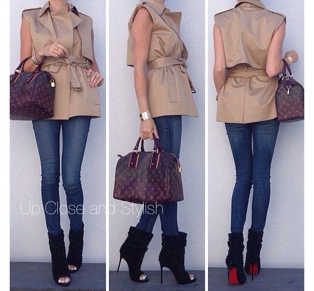 Céline vest~Rag and Bone jeans~Louboutin 'Guerilla' 120 mm boots~LV limited edition 'Mirage Speedy' bag in medium.