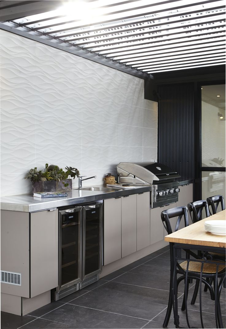 Laminex Alfresco Compact Laminate in Stone was used for the cupboards of The Block (Fans vs Faves season) contestants, Dale and Brad's, terrace. Photographer Willem-Dirk du Toit.