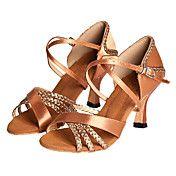 Women s Latin Shoes   Ballroom Shoes   Salsa Shoes Satin Heel Customized  Heel Customizable Dance Shoes Bronze 8ea838b36f4