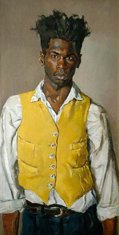 """Self Portrait in a Yellow Waistcoat"" - Desmond Haughton (English, b. 1968), oil on canvas, 1993 {figurative art male standing man painting}"