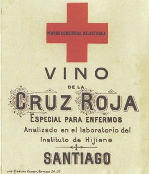 VINO CRUZ ROJA    Marca registrada por el comerciante Arturo Gallo, Santiago, 1893. Destaca la frase incluida en la etiqueta Especial para enfermos.