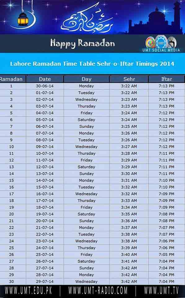 Ramadan Time Table Sehr o Iftar Timings in Lahore 2014