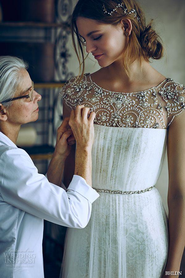 BHLDN #bridal spring 2016 cap sleeves illusion jewel straight across beaded neckline vintage romantic tulle a line #wedding dress beaded back (tiernan) mv
