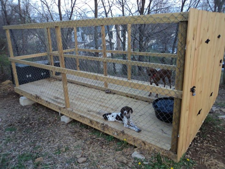 dog kennel outdoor run. I like this but I would put a roof on it and put a foot of paneling all around the outside to keep out snaked. I'd also make sure that there was enough space between the floor slats to wash it. If you put this right against the house, then the dog could have access to the run through a dog door. #luxurydoghouse