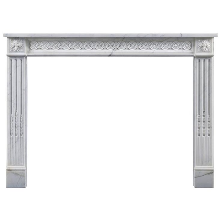 Antique French Louis Xvi Style Marble Fireplace With Guilloche Frieze
