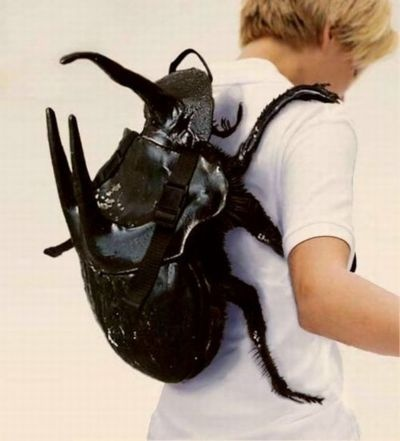 Hey Kid, a giant bug is on your back!! (Actually, it's a Very Weird backpack).