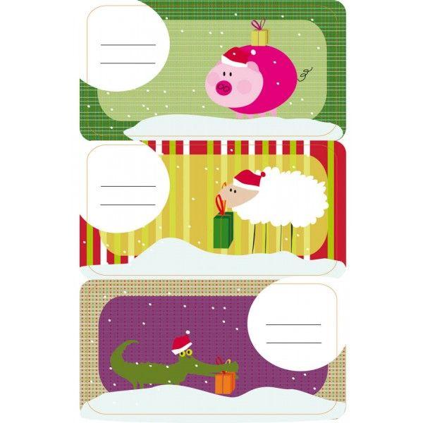 """Comprar 3 Hojas Etiquetas Regalo """"Cerdito de Navidad"""" Apli 11793  #regalo #casa #colores #colegio #school #infantil #niños #dibujos #etiquetas"""