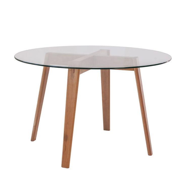 mesa espiga cubierta vidrio transparente templado de 120 cms de diametro y