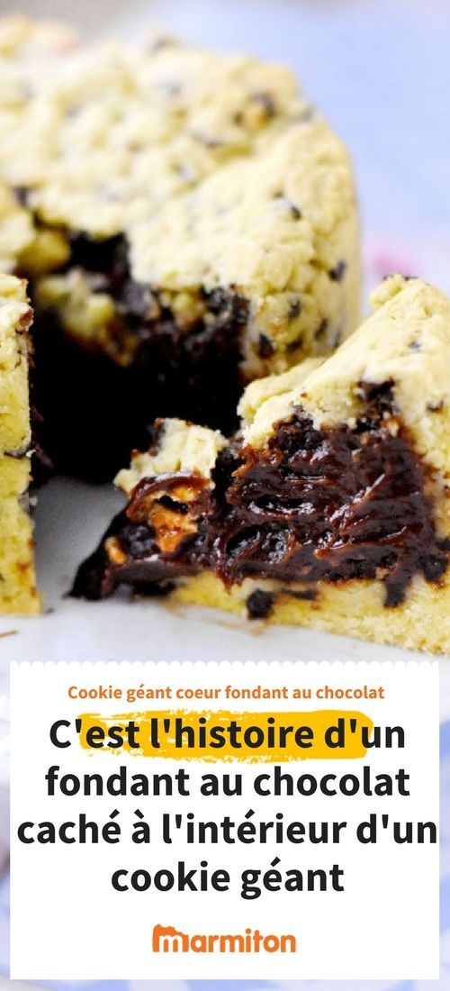 Vous adorez le fondant au chocolat ? Vous adorez les cookies ? Cette recette est faite pour vous ! Essayez absolument ce fondant caché à l'intérieur d'un cookie, c'est magique #marmiton #cuisine #recette #cookie #fondant #chocolat