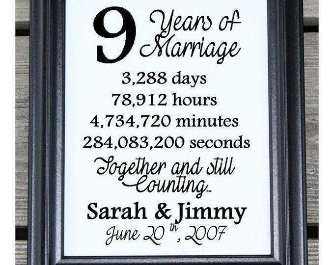 9th Anniversary Gift 9 Years Married Wedding Anniversary 15th