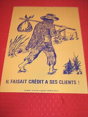 """Curiosité Affiche Ancienne Plaque Celluloïd  """" il faisait crédit à ses clients """""""