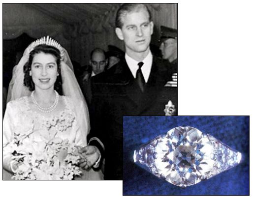 QUEEN ELIZABETH II was presented with this 3 carat diamond solitaire engagement ring from Prince Philip of Greece and Denmark, which came from his mother's tiara. They married in 1947
