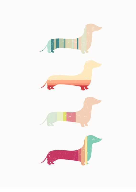 Stripy Sausage Dog Contemporary Art Print  A4  by CTIllustration, £12.00