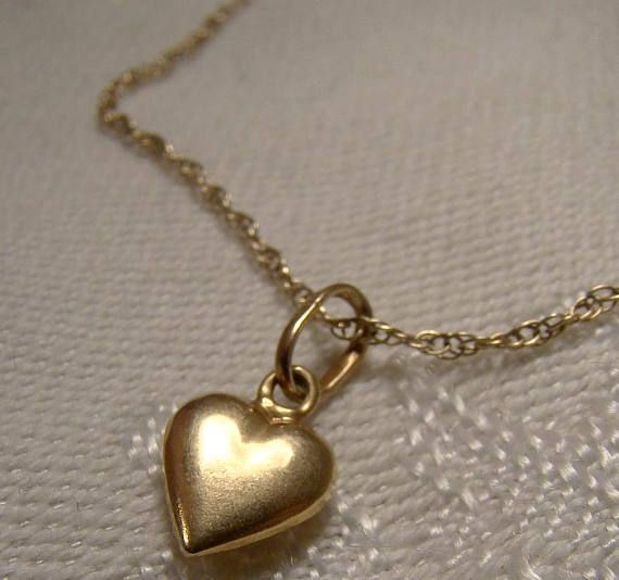18K Yellow Gold Heart Pendant on 10K Rope Twist Chain Bracelet