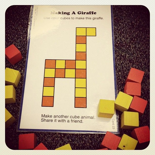 Copying patterns with blocks. Good visual motor practice for pre-writers or older kids who struggle with visual motor skills. Photo by christiekiley.