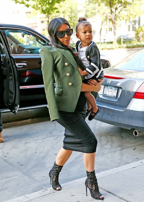 Kim Kardashian West, North West, and Kanye West all donned Balmain for lunch at Cipriani in Soho.