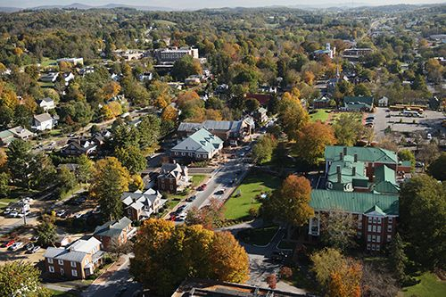 Aerial view of Abingdon, Virginia in the fall. Abingdon is one of the locations along the famed rail trail, the Virginia Creeper Trail. It's open to bicycles and horses, too. Image by CameronDavidson@CameronDavidson.com. #fallinva