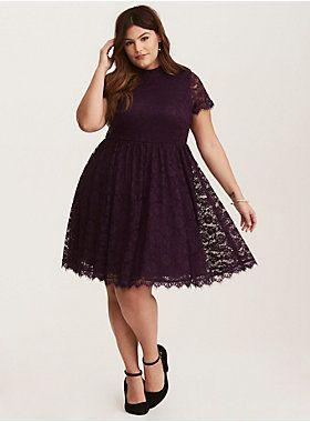 Deep Purple High Neck Lace Skater Dress