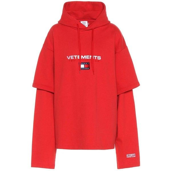 Vetements X Tommy Hilfiger Cotton-Blend Sweatshirt ($1,040) ❤ liked on Polyvore featuring tops, hoodies, sweatshirts, long-sleeved, red, red sweatshirt, red top and vetements sweatshirt
