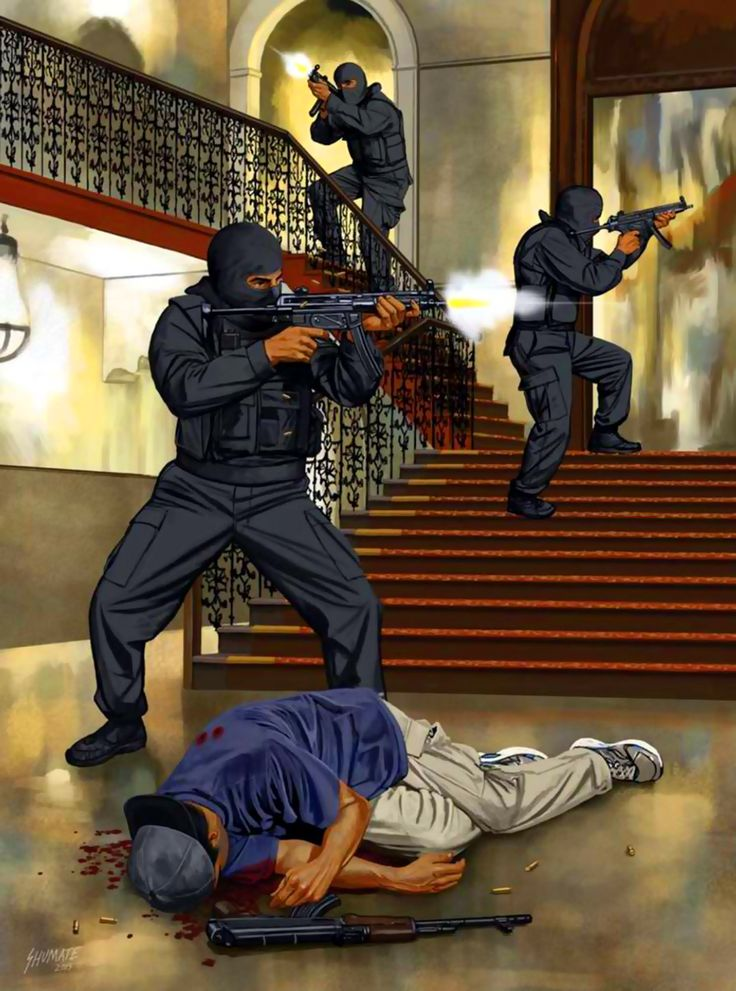 Troops of India's National Security Guards conducting operations to sweep the Taj Mahal Hotel of Islamic terrorists during the 2008 Mumbai Terror Attack