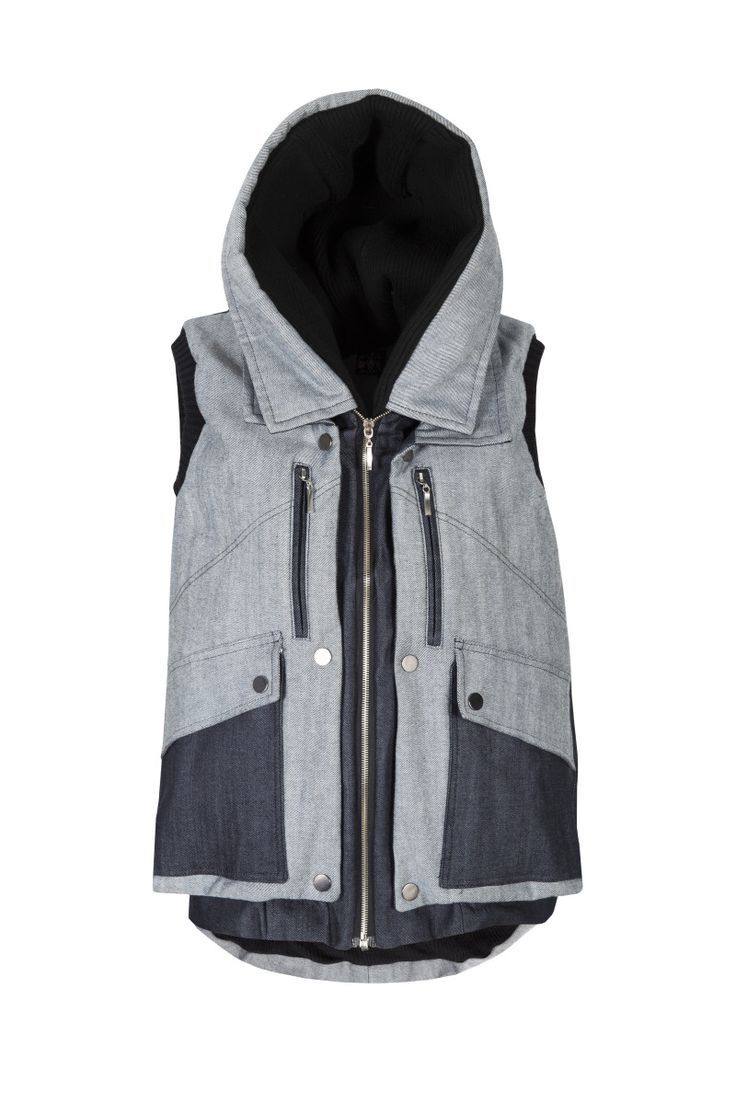 Moxos, Denim, vest. To download high or low resolution product images view Mondrianista.com (editorial use only).