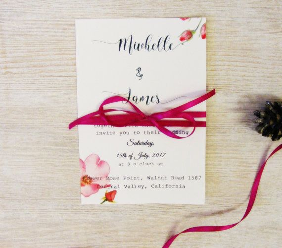 Botanical Wild Rose Invitation Personalized Wedding by HandMadeowo
